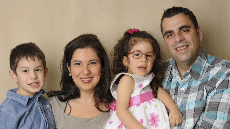 Carole Elkhal, Community Director at Prader Willi Foundation, with family, daughter Guillianna at the left has Prader-Willi.